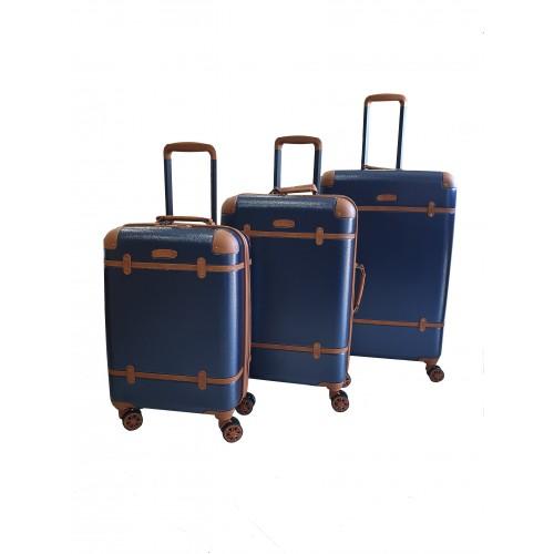 Σετ 3 Βαλίτσες Ταξιδιού ABS με Τηλεσκοπικό Χερούλι, Ροδάκια και Κλείδωμα Ασφαλείας σε Μπλε χρωμα - blue19190